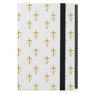 """""""3-D"""" Look Golden Cross with Wedding Rings Case For iPad Mini"""