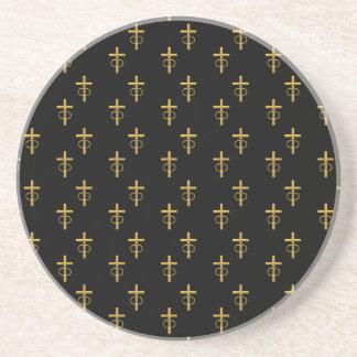 """3-D"" Look Golden Cross with Wedding Rings Drink Coaster"