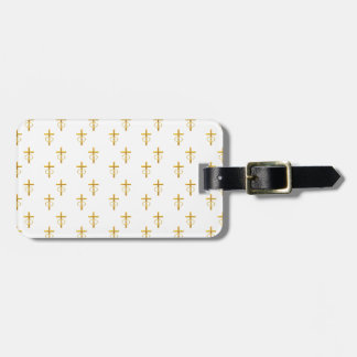 """3-D"" Look Golden Cross with Wedding Rings Luggage Tag"