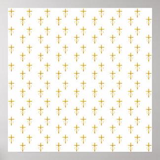 """3-D"" Look Golden Cross with Wedding Rings Poster"