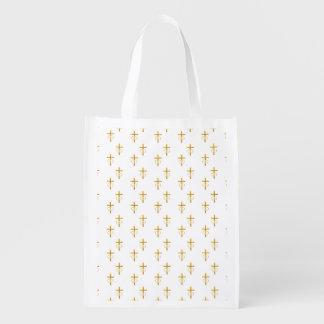 """3-D"" Look Golden Cross with Wedding Rings Reusable Grocery Bag"