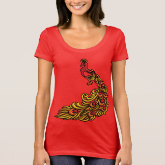 3-D Peacock with Red, Orange and Yellow Plumage T-Shirt