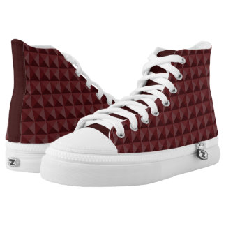 3-D Plum Triangle Square Points Design High Tops
