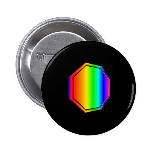 3-D Rainbow Octagon Pin