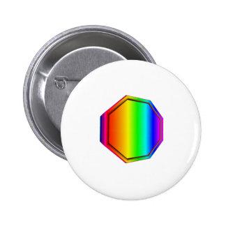 3-D Rainbow Octagon Pinback Buttons
