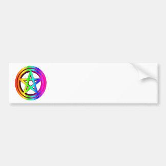 3-D  Rainbow Pentacle #5 Bumper Sticker