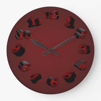 3-D Red Wall Clock