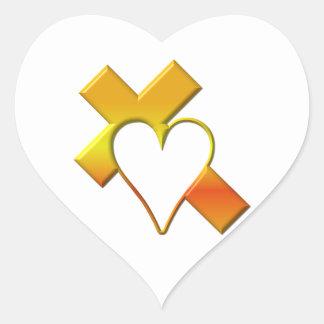 """""""3-D"""" Yellow Cross with Heart Heart Sticker"""