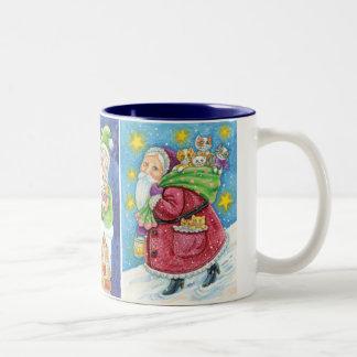 3 Different Santa Claus Cartoon Christmas Designs Two-Tone Mug