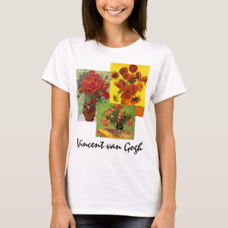 3 different van Gogh Vintage Floral Flowers Art T-Shirt