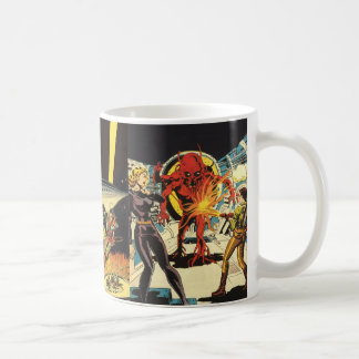 3 Different Vintage Science Fiction Sci Fi Scenes Basic White Mug