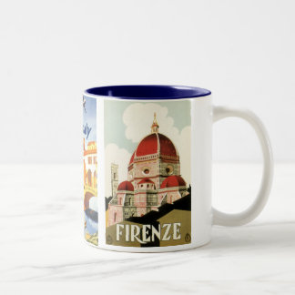 3 different Vintage Travel Images Florence Italy Two-Tone Coffee Mug
