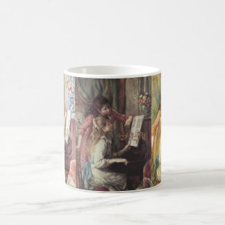 3 different Young Girls at the Piano by Renoir Basic White Mug
