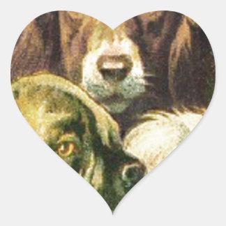 3 Dogs Portrait Heart Sticker