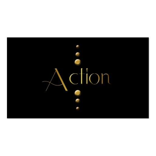 3 Dot Gold Block Action & Black Background Business Card
