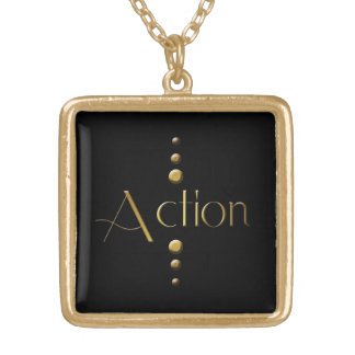 3 Dot Gold Block Action & Black Background Gold Plated Necklace