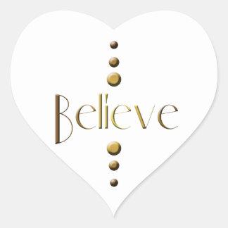 3 Dot Gold Block Believe Heart Sticker