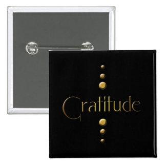 3 Dot Gold Block Gratitude & Black Background 15 Cm Square Badge