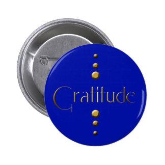3 Dot Gold Block Gratitude & Blue Background 6 Cm Round Badge
