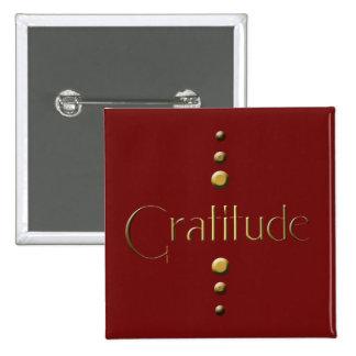 3 Dot Gold Block Gratitude & Burgundy Background 15 Cm Square Badge