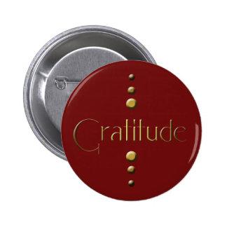 3 Dot Gold Block Gratitude & Burgundy Background 6 Cm Round Badge