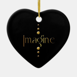 3 Dot Gold Block Imagine & Black Background Ceramic Heart Decoration
