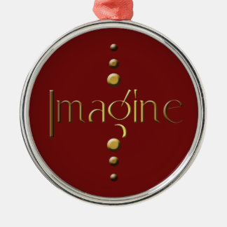 3 Dot Gold Block Imagine & Burgundy Background Silver-Colored Round Decoration