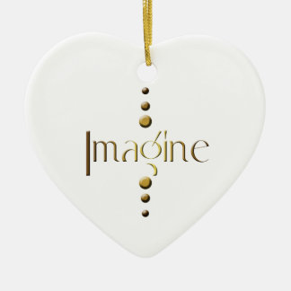 3 Dot Gold Block Imagine Ceramic Heart Decoration