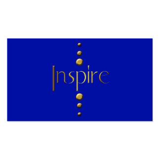 3 Dot Gold Block Inspire Blue Background Business Card Templates