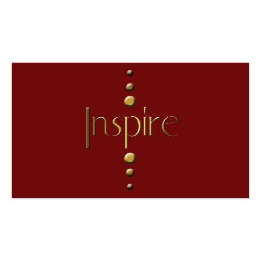 3 Dot Gold Block Inspire & Burgundy Background Business Card Templates