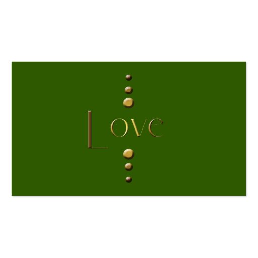 3 Dot Gold Block Love & Green Background Business Cards