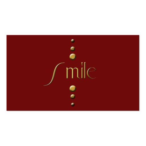 3 Dot Gold Block Smile & Burgundy Background Business Card
