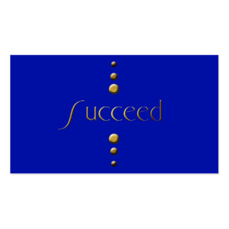 3 Dot Gold Block Succeed Blue Background Business Card Templates