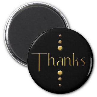 3 Dot Gold Block Thanks & Black Background Magnet