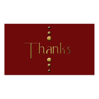 3 Dot Gold Block Thanks & Burgundy Background Business Card Template