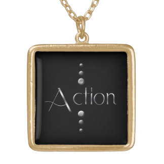 3 Dot Silver Block Action & Black Background Gold Plated Necklace