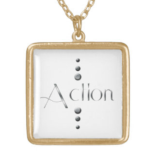 3 Dot Silver Block Action Gold Plated Necklace