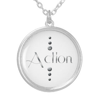 3 Dot Silver Block Action Silver Plated Necklace