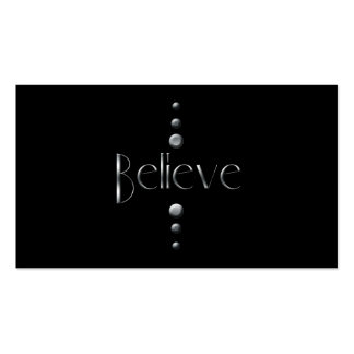 3 Dot Silver Block Believe & Black Background Business Card Templates