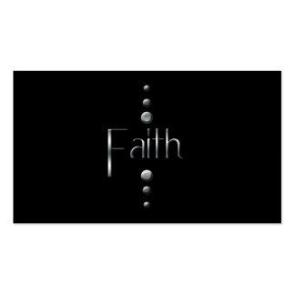 3 Dot Silver Block Faith & Black Background Business Card Template