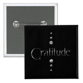 3 Dot Silver Block Gratitude & Black Background 15 Cm Square Badge