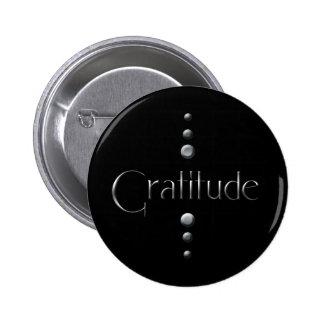 3 Dot Silver Block Gratitude & Black Background 6 Cm Round Badge