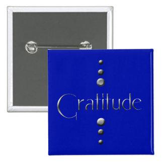3 Dot Silver Block Gratitude & Blue Background 15 Cm Square Badge