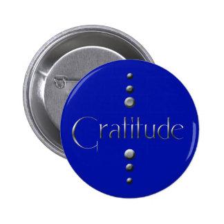 3 Dot Silver Block Gratitude & Blue Background 6 Cm Round Badge
