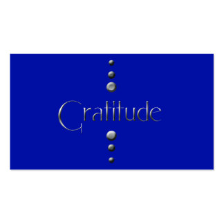 3 Dot Silver Block Gratitude & Blue Background Business Cards