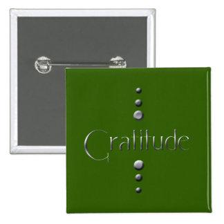 3 Dot Silver Block Gratitude & Green Background 15 Cm Square Badge