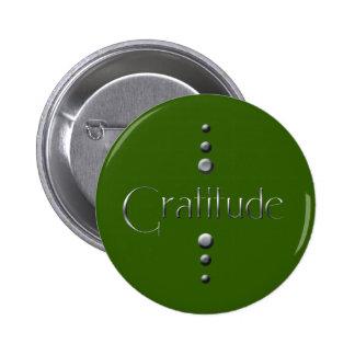 3 Dot Silver Block Gratitude & Green Background 6 Cm Round Badge