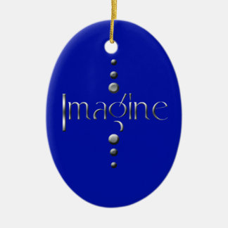 3 Dot Silver Block Imagine & Blue Background Ceramic Oval Decoration