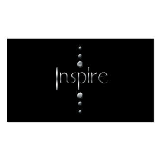 3 Dot Silver Block Inspire Black Background Business Card Templates