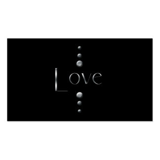 3 Dot Silver Block Love & Black Background Business Cards